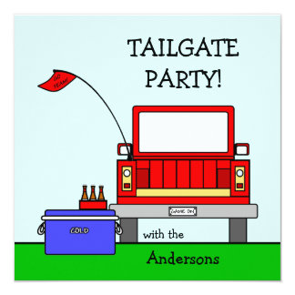 Tailgate Party Truck 13 Cm X 13 Cm Square Invitation Card