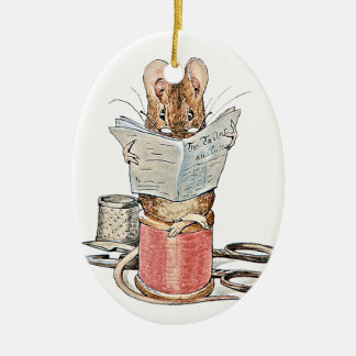 Tailor Mouse on Spool of Thread Ceramic Oval Decoration