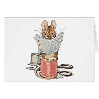 Tailor Mouse on Spool of Thread Greeting Card