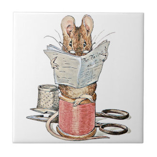 Tailor Mouse on Spool of Thread Small Square Tile