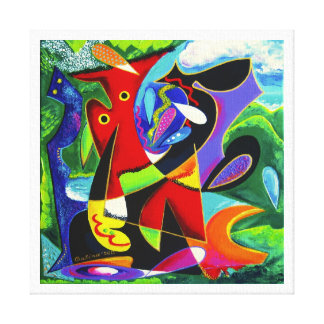 Taino Dance, Puerto Rico Art Stretched Canvas Print
