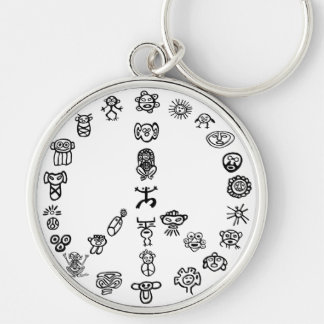Taino Peace Silver-Colored Round Key Ring