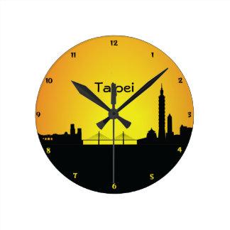 Taipei CityScape Night Silhouette Wall Clock