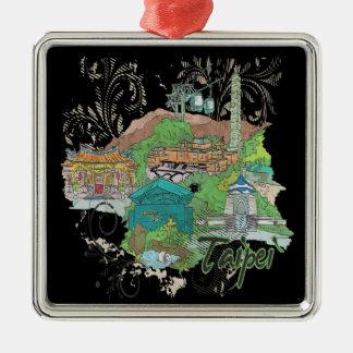 Taipei Silver-Colored Square Decoration