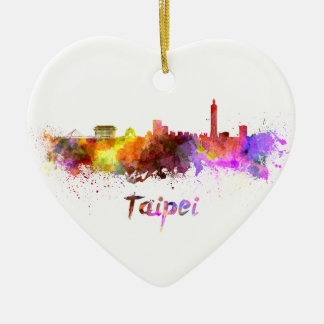 Taipei skyline in watercolor ceramic heart decoration