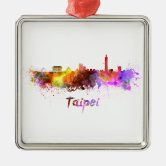 Taipei skyline in watercolor christmas ornament