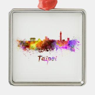 Taipei skyline in watercolor Silver-Colored square decoration