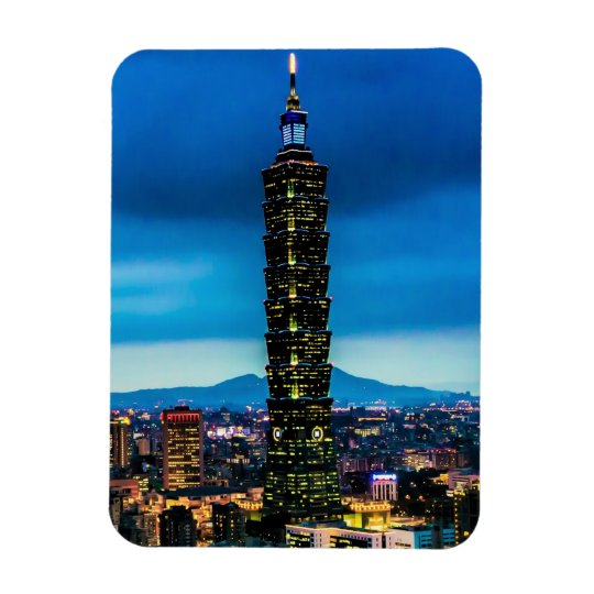 Taipei, Taiwan Skyline at Night Rectangular Photo Magnet