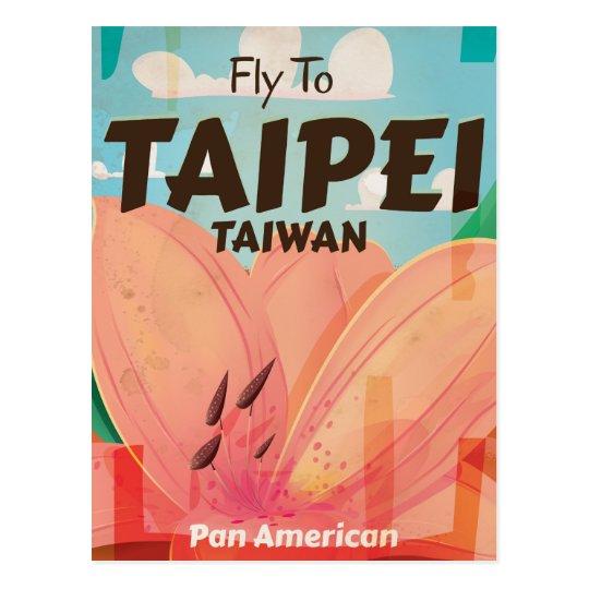 Taipei, Taiwan Vintage Travel Poster Postcard
