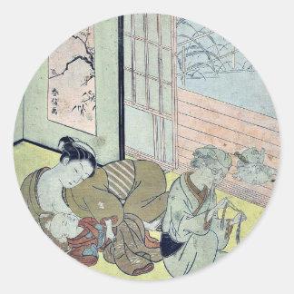 Taira no Kanemori by Suzuki, Harunobu Ukiyoe Round Sticker