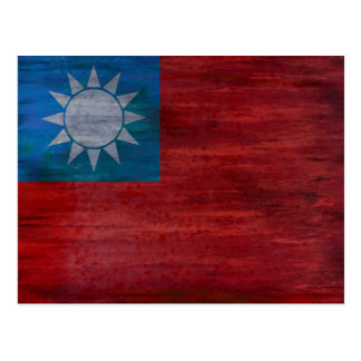Taiwan distressed flag postcard