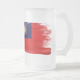Taiwan Flag Frosted Glass Mug