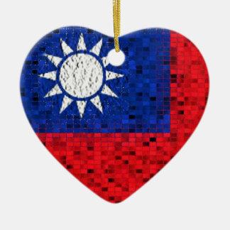 Taiwan Flag glitter ornament