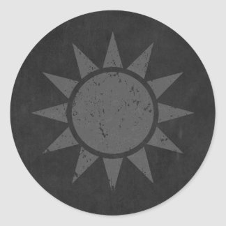 "Taiwan Flag ""Gray Vintage"" Classic Round Sticker"