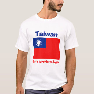 Taiwan Flag + Map + Text T-Shirt