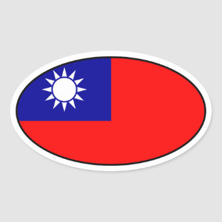 Taiwan Flag Oval Sticker