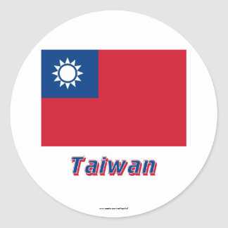 Taiwan Flag with Name Classic Round Sticker