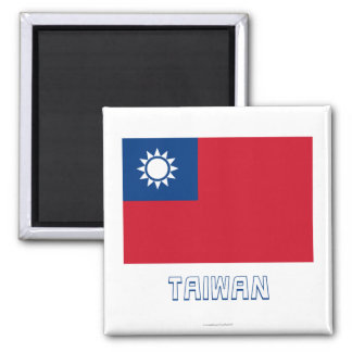 Taiwan Flag with Name Square Magnet