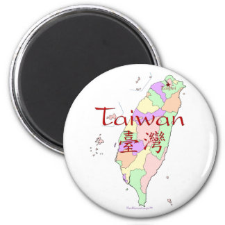 Taiwan Map 6 Cm Round Magnet