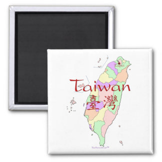 Taiwan Map Square Magnet