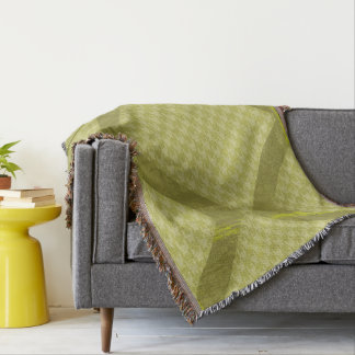 Taiwan Mustard Green Houndstooth Throw Blanket