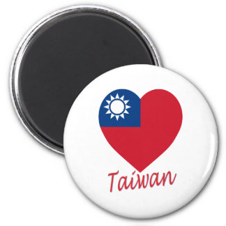 Taiwan (Republic of China) Flag Heart 6 Cm Round Magnet