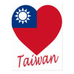 Taiwan (Republic of China) Flag Heart Post Cards