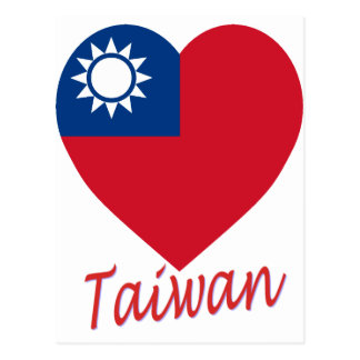 Taiwan (Republic of China) Flag Heart Postcard