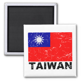 Taiwan Vintage Flag Square Magnet