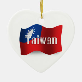Taiwan Waving Flag Christmas Ornament