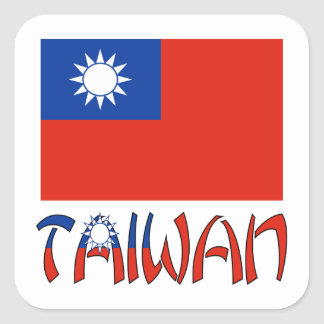 Taiwanese Flag and Taiwan Square Sticker