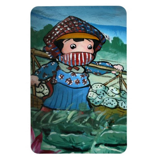 Taiwanese girl in lily pond rectangular magnets