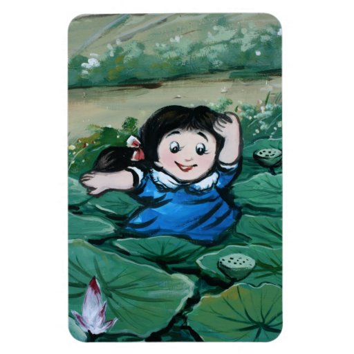 Taiwanese girl in lily pond magnet