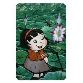Taiwanese girl in lily pond rectangular photo magnet