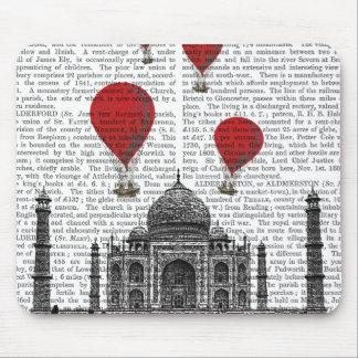 Taj Mahal and Red Hot Air Balloons Mouse Mat