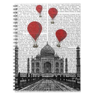 Taj Mahal and Red Hot Air Balloons Notebook