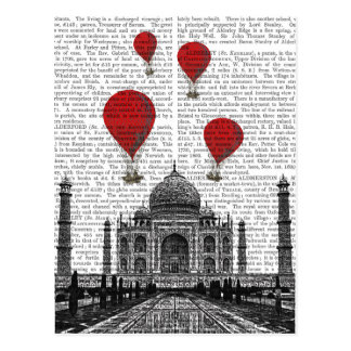 Taj Mahal and Red Hot Air Balloons Postcard