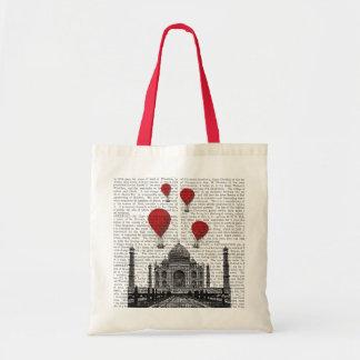 Taj Mahal and Red Hot Air Balloons Tote Bag