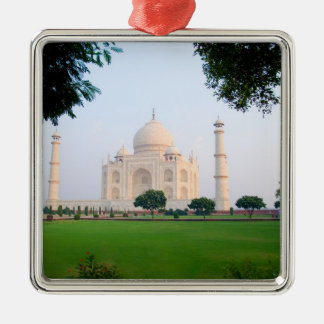 Taj Mahal at sunrise one of the wonders of the Silver-Colored Square Decoration