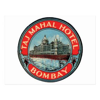 Taj Mahal, Bombay Vintage Luggage Label Postcard