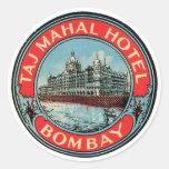 Taj Mahal Hotel Bombay Luggage Tag Round Sticker