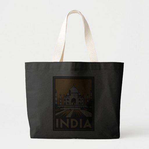 taj mahal india art deco retro poster jumbo tote bag