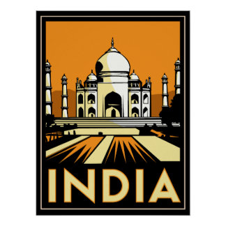 taj mahal india art deco retro travel vintage poster