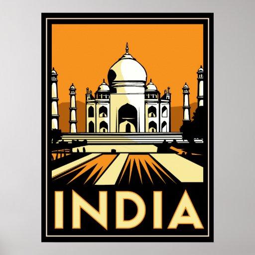taj mahal india art deco retro travel vintage posters