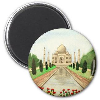 Taj Mahal 6 Cm Round Magnet
