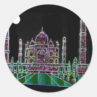 TAJ Mahal Moghul Architecture Heritage Building 99 Round Sticker