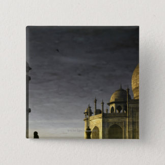 Taj Mahal reflection on water at dawn  with high 15 Cm Square Badge