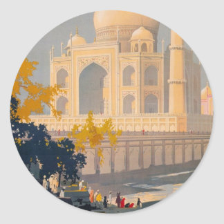 Taj Mahal Retro Travel Poster Sticker