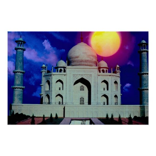 Taj Mahal with sun Poster