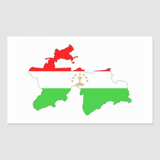 Tajikistan country flag map shape symbol rectangular sticker